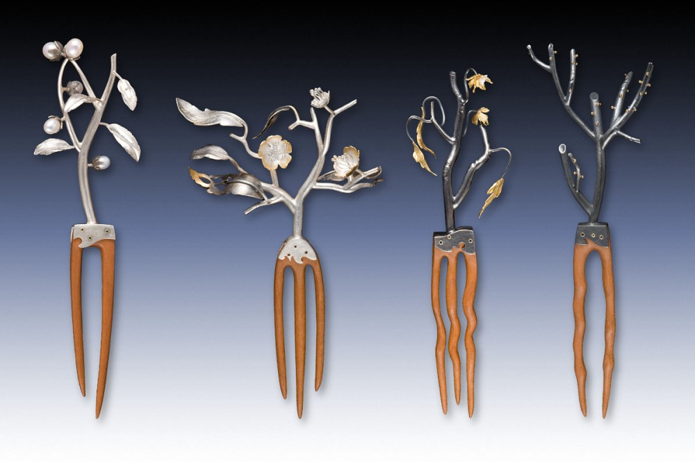 Cherry Blossom hair combs: I fabricated these hair combs out of sterling silver, gold, pearls and cherry wood. These pieces won first place in the Fashion Accessories Division of the Niche Competition
