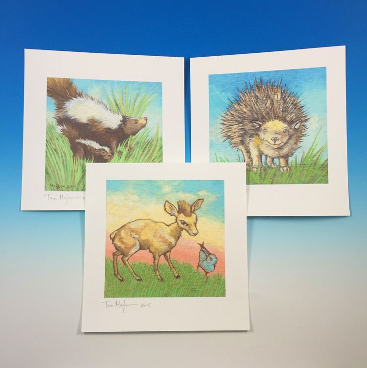 I made a series of prints on cotton rag paper. These prints are based on my original illustrations.