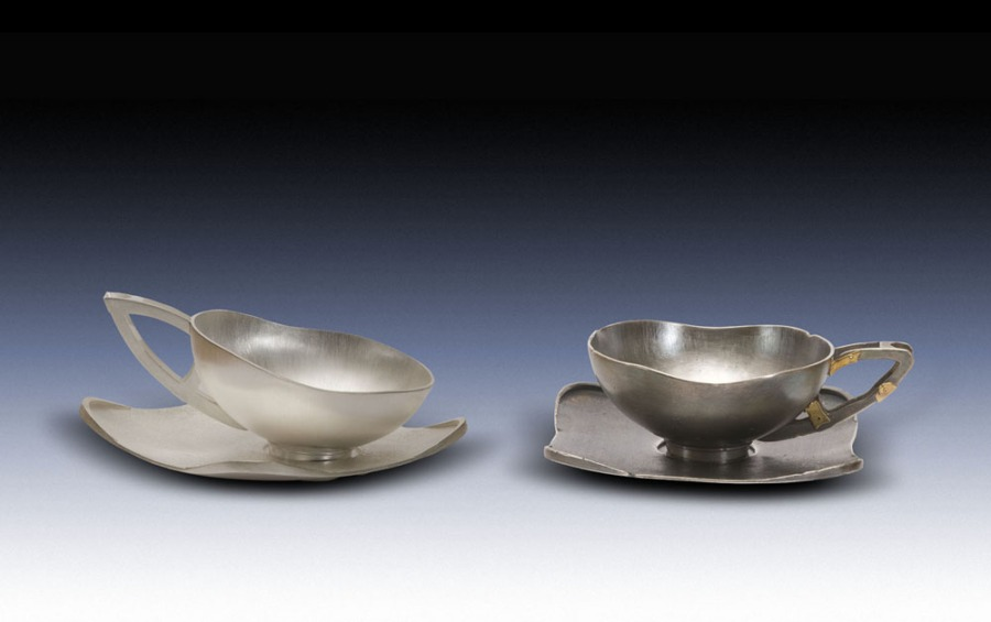 "Sublime Senescence: I fabricated these teacups in silver and gold. This piece was a part of my MFA thesis show ""Instruments of Vanity""."