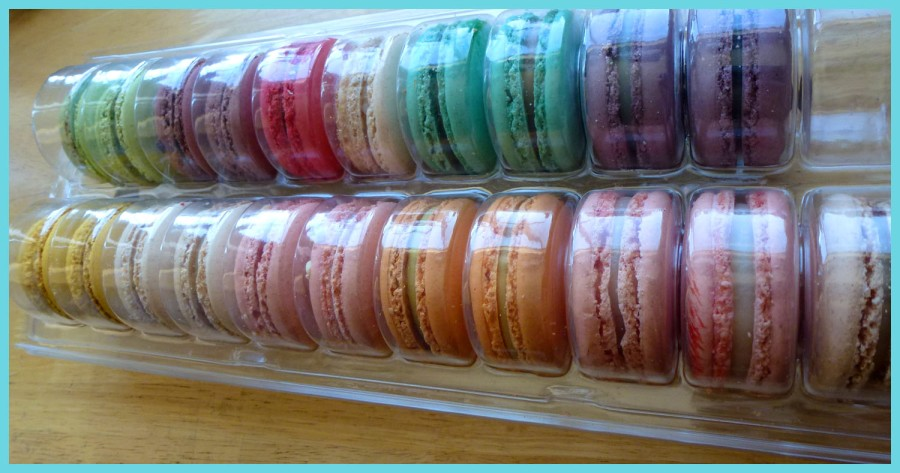 The macarons are housed in a protective plastic container.