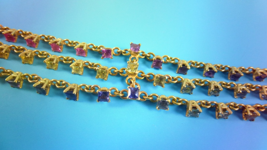 Detail of sapphire bracelet.