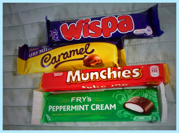 European candies: Cadbury Wispa, Cadbury Caramel, Nestle's Munchies, and Fry's Peppermint Cream