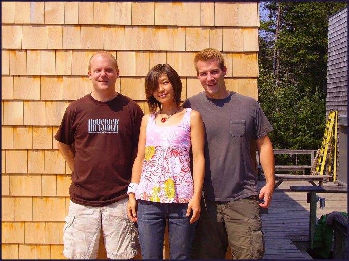Matt Hutton (instructor on the far left), Yuri Kobayashi (TA in the center) and Cory Robinson (TA on the far right)