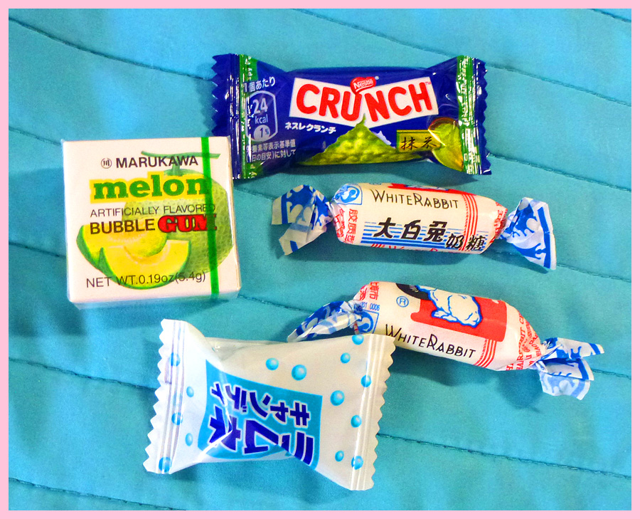 Marukawa Fusen Melon Gum, Matcha Green Tea Crunch, White Rabbit Creamy Candy and Super Soda hard candy
