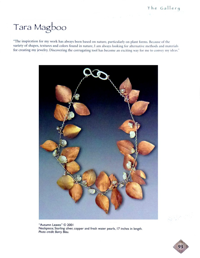"Page 93 features my ""Autumn Leaves"" necklace which incorporates the metal corrugation technique."