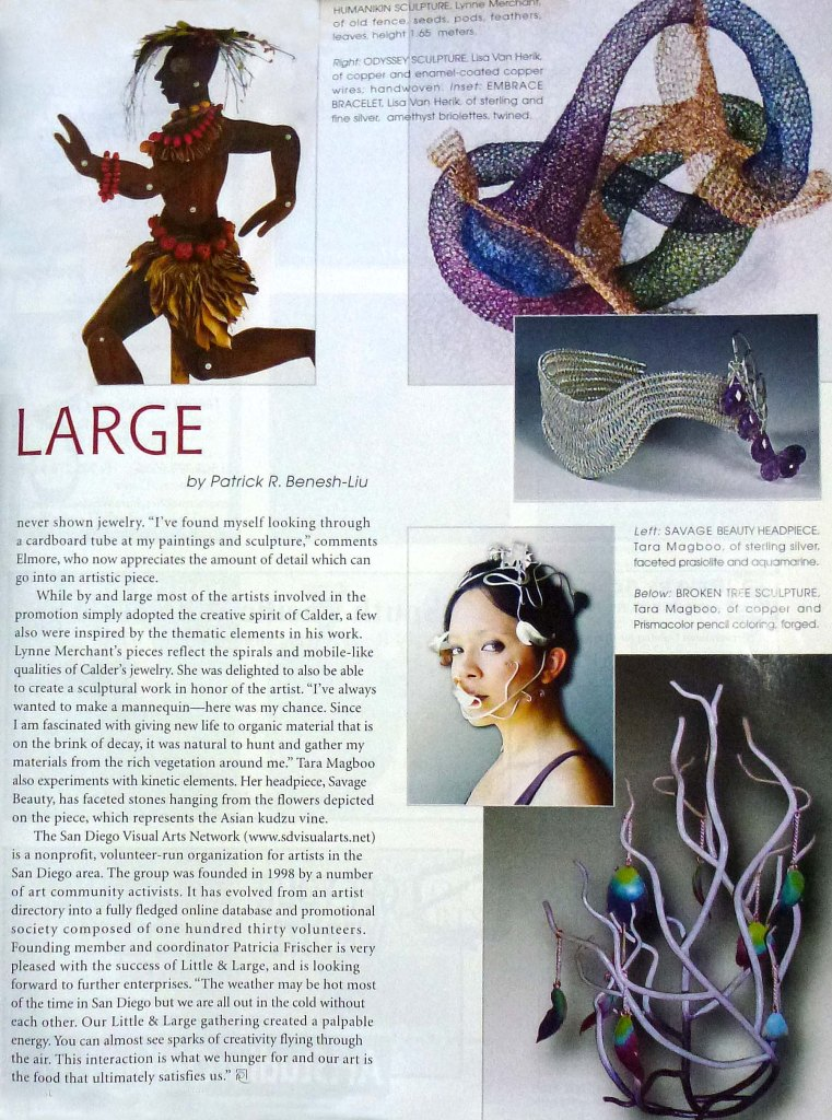 "Second page of ""Little and Large"" article featuring my jewelry work."