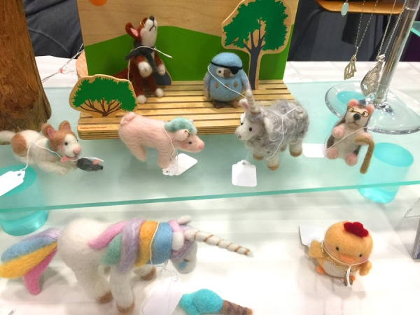 My felt menagerie on display.