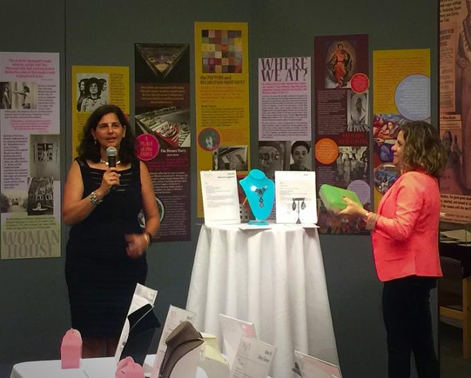 Lisa Slovis and Eliana announcing the winners of the jewelry raffle.